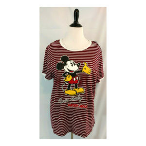 Mickey Mouse Plus 1X Tee Top Womens Graphic Stripe